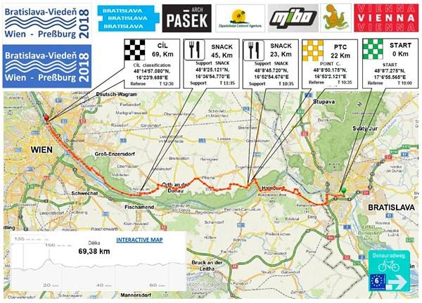 Bratislava–Vídeň 2018 – mapa závodu