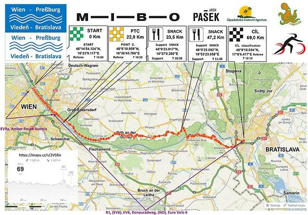 Mapa závodu Vídeň – Bratislava 2019