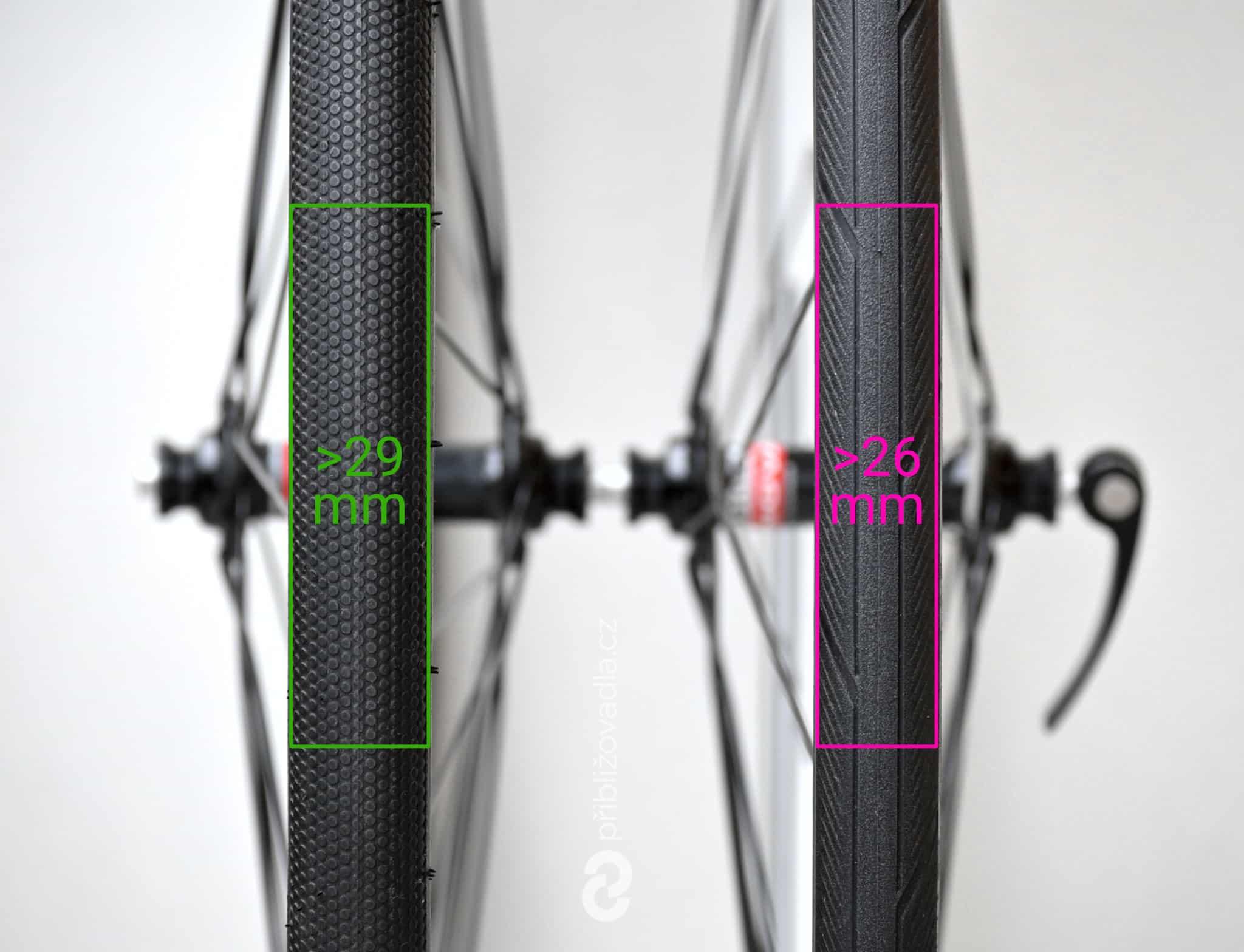 Porovnání šířky plášťů Continental Ultra Sport III 700×25c a Schwalbe G-One Speed 700×30c